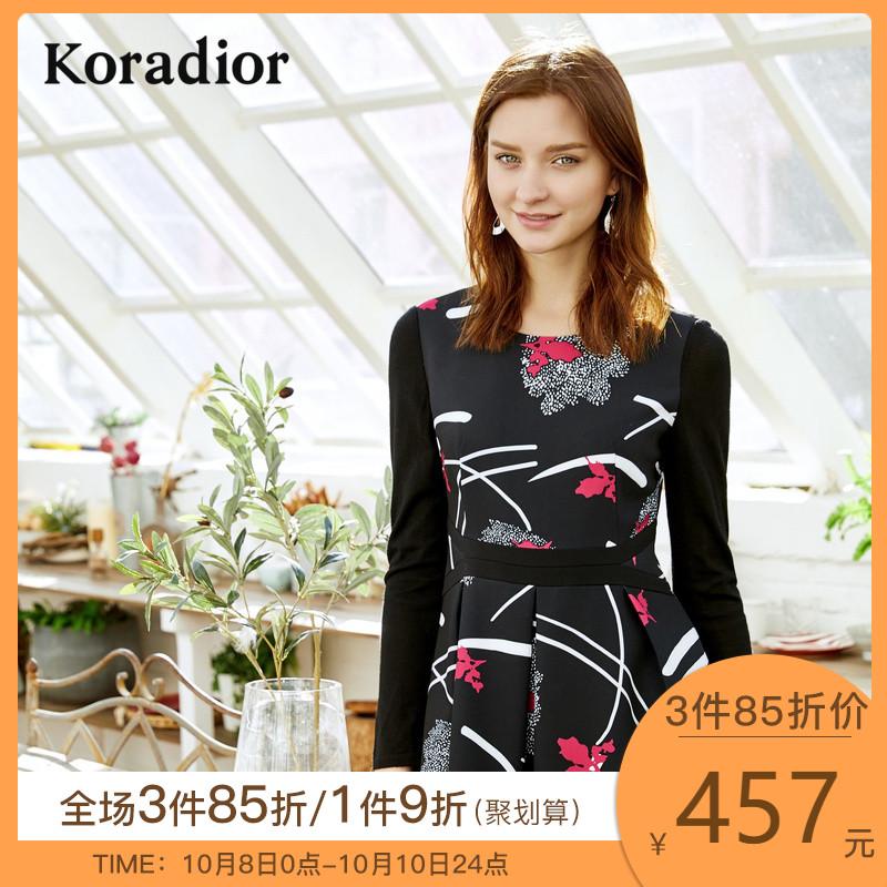 Koradior/珂莱蒂尔品牌女装2018春装新款长袖修身时尚打底连衣裙
