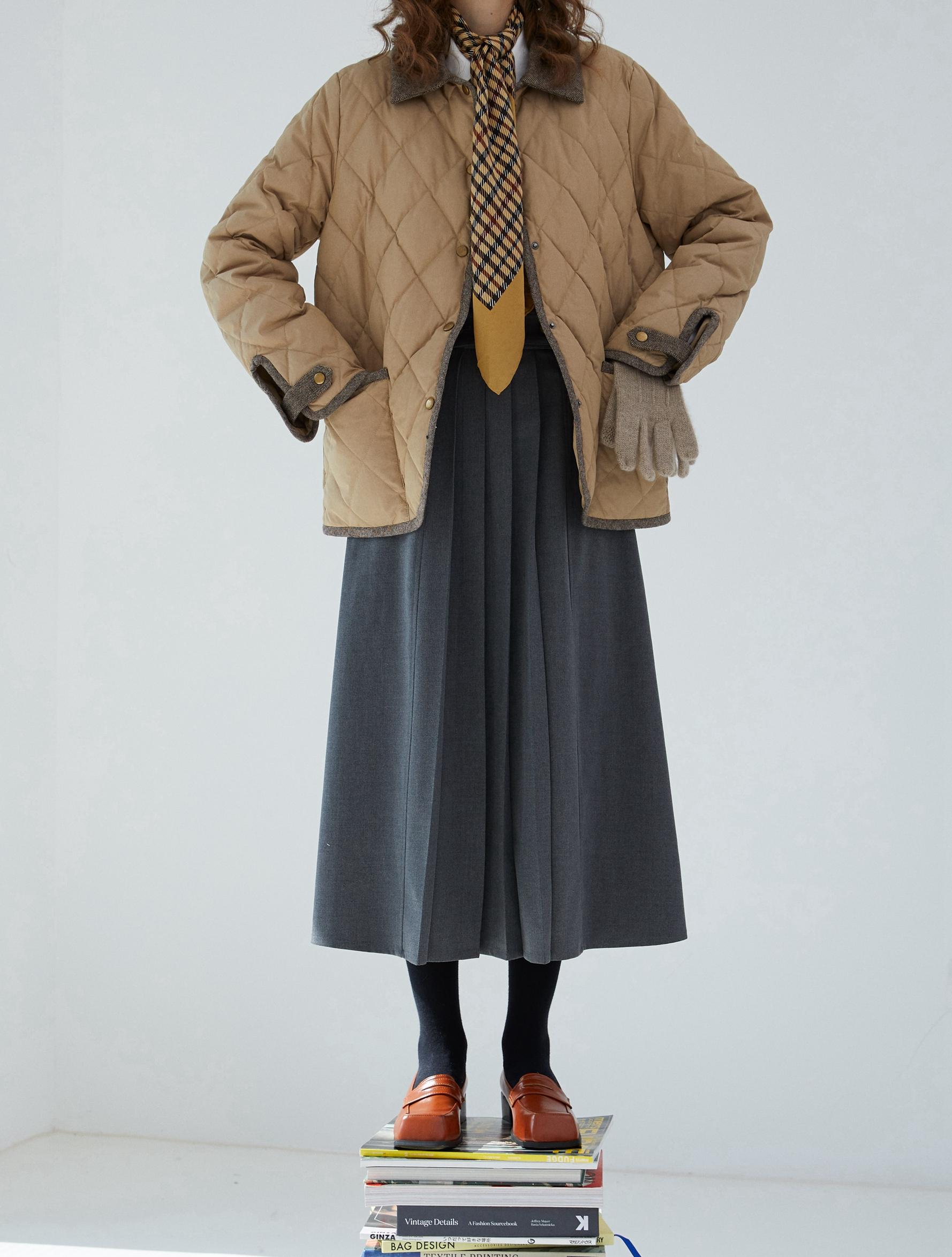 一方二集极简三种穿法马甲百褶中长半裙两件套深灰色洋装详细照片