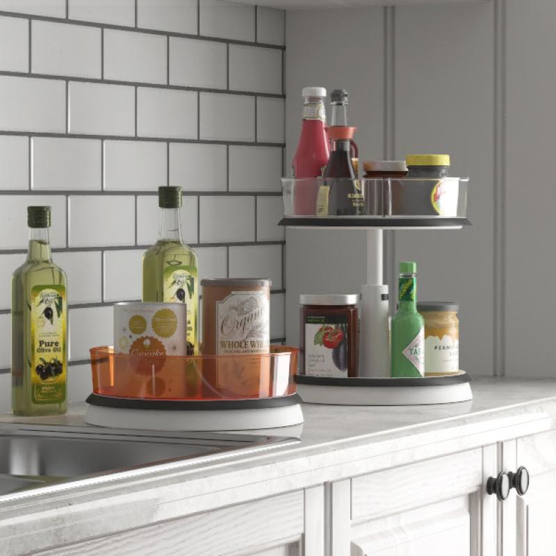 旋转式置物架调料架厨房用品家用二层伸缩调味品多功能收纳盒神器