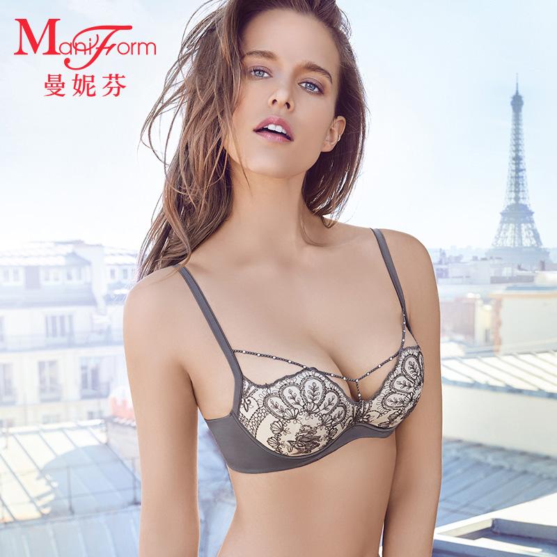 Manifin cotton mỏng cup bra bra phần mỏng đồ lót của phụ nữ nửa cốc thép mềm vòng gợi cảm ren lớn ngực dây đeo kim cương - Áo ngực ren