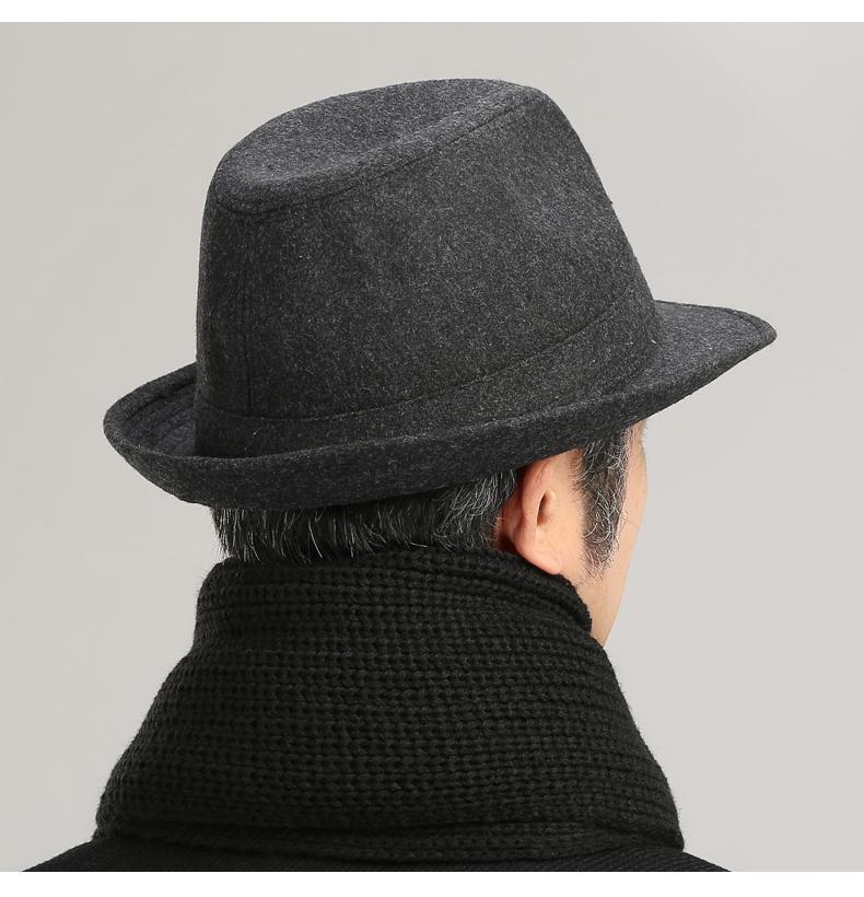 老人帽子男春夏季加绒加厚大沿中老年礼帽老头爷爷毛呢爵士绅士帽详细照片