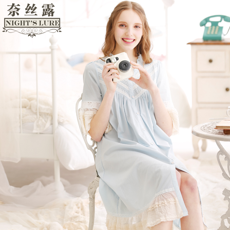 43d9587dc2 Long section Korean princess lace nightdress summer cotton loose home  service sexy Palace retro pajamas women