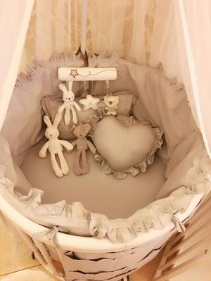 Baby plush toy BB bed standing baby baby bed music pendant small cart baby doll doll
