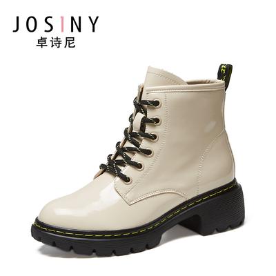 卓诗尼单鞋2020新款女靴子女短筒靴子休闲低跟舒适圆头英伦马丁靴