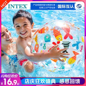 Мячи надувные,  INTEX надувные мяч пляжный мяч ребенок обучения в раннем возрасте плавать водное поло пластиковые мяч водный игрушка цвет мяч морской мяч, цена 247 руб