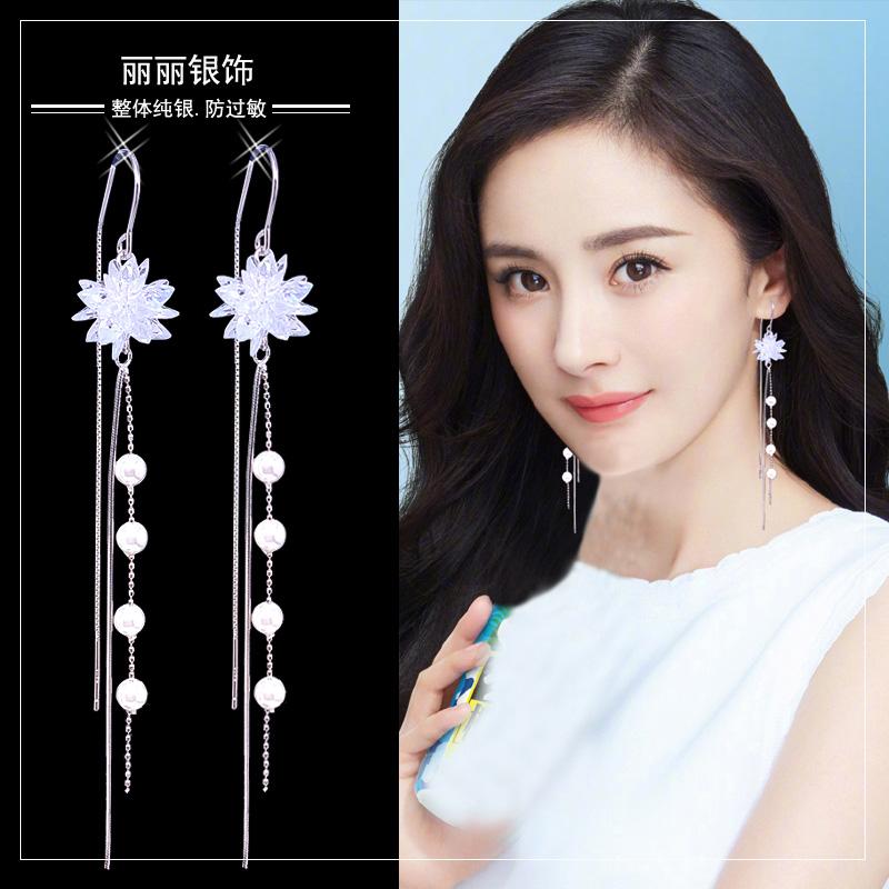 Summer tassel earrings 2021 new trend ice crystal flower super fairy earrings long version temperament anti-loss sterling silver earrings