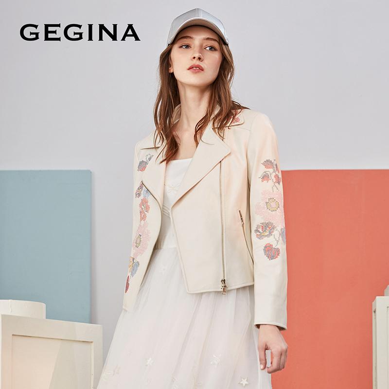 Gegina GEGINA Áo khoác lông cừu trắng thêu thêu áo khoác xe máy rộng dây kéo nữ ngắn - Quần áo da