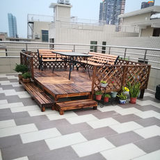 Outdoor balcony antiseptic wood floor courtyard leisure solid wood platform garden tatami step waterproof floor combination