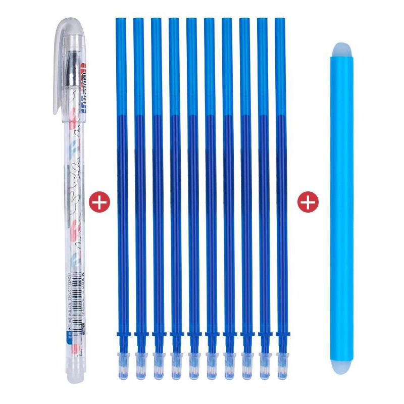 晨光可擦笔小学生用中性笔热魔摩磨易擦墨蓝晶蓝黑色0.38mm魔力摩擦水笔芯0.5黑批发3-5年级魔力檫蓝色