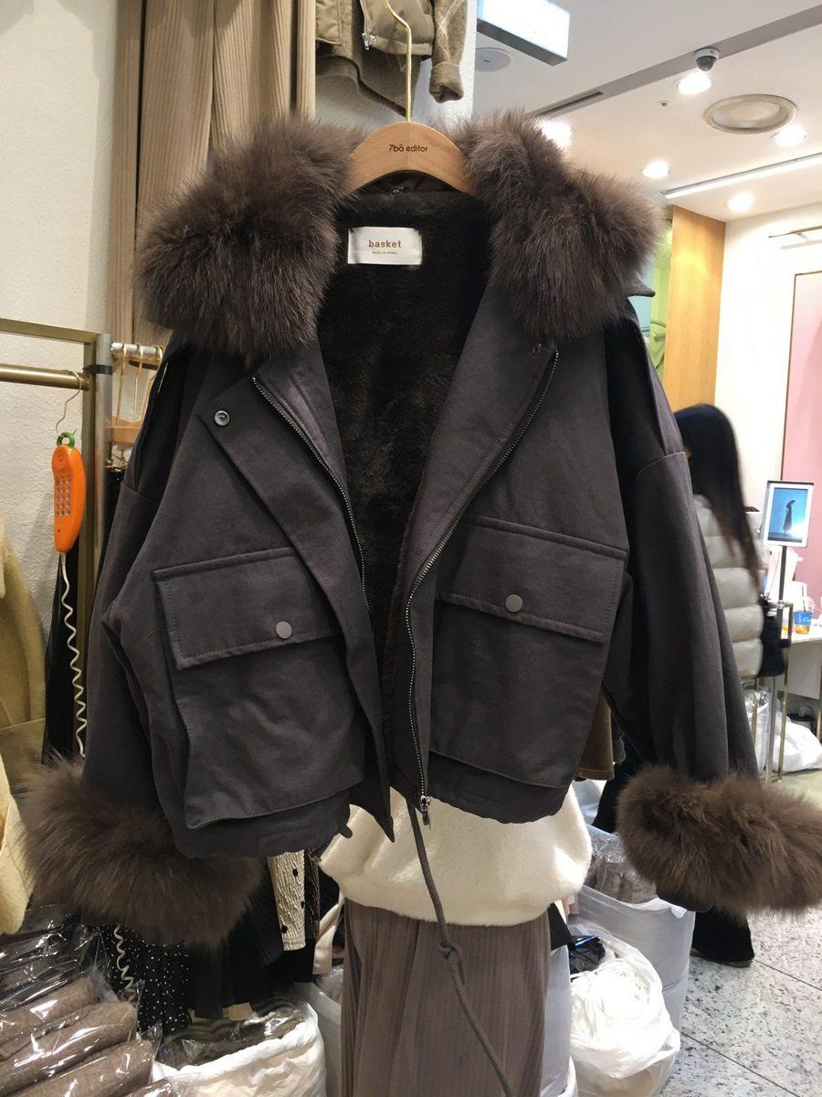 韩国东大门代购棉服牛仔女2019年冬新款加绒加厚大毛领短夹克