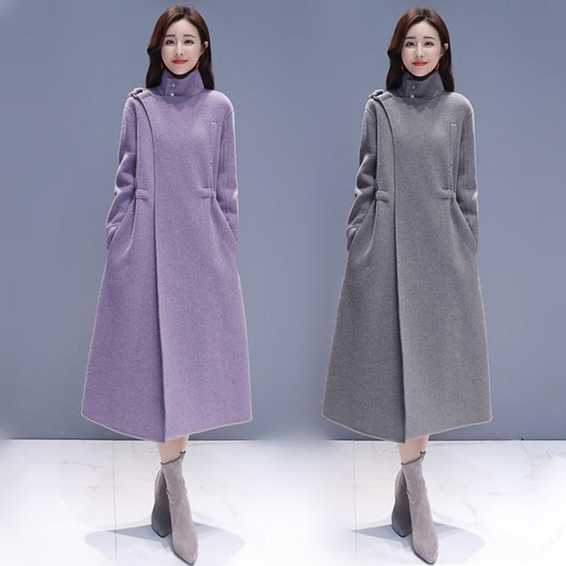 长款呢子女装女外套2018新款大衣韩版收腰毛呢显瘦过膝冬装大衣冬