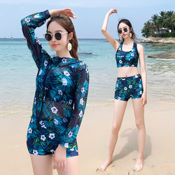 2020 new net red couple swimsuit ladies cover belly slim three-piece long-sleeved sunscreen men's embarrassing swim shorts