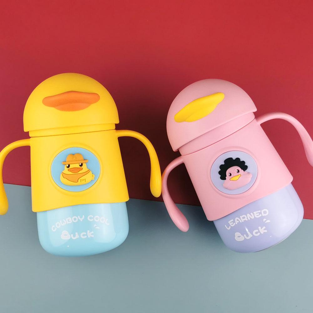 316不锈钢 婴幼儿保温杯带手柄吸管重力球宝宝外出便携防呛水杯
