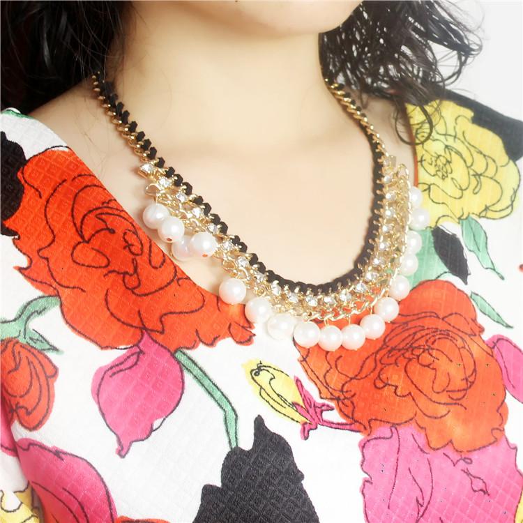 寄情2015新款珍珠金色水晶钻领子短款链毛衣项链链假颈链时装时尚