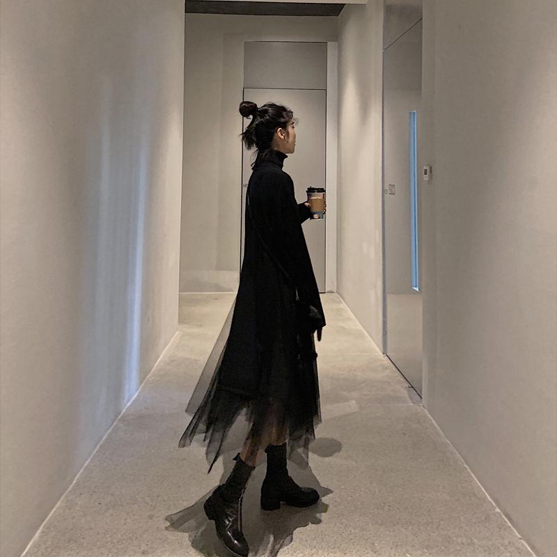 2019 осень-зима новая коллекция Джемпер в стиле Хепберн наборы платье черный прогрессивный женщина