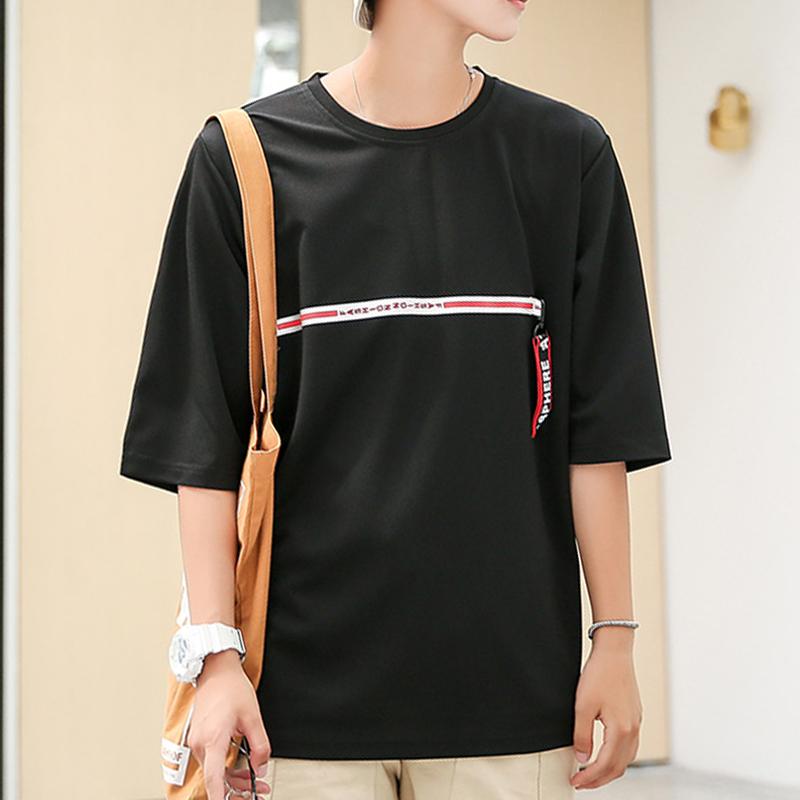 宽松休闲夏季男短袖T恤港风男士韩版潮流学生青年圆领五分袖半袖