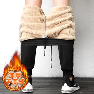 冬季加绒加厚羊羔绒运动裤休闲裤小脚卫裤
