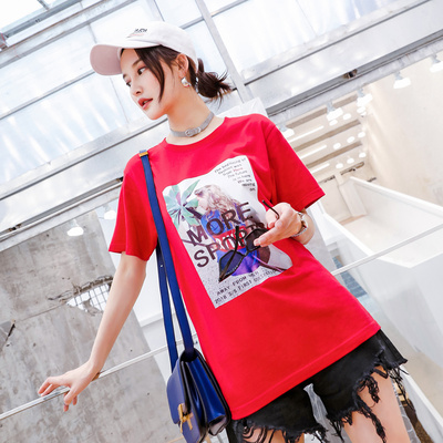 The new female short-sleeved loose wild female student Harajuku style ins influx of small fresh summer T-shirt tops