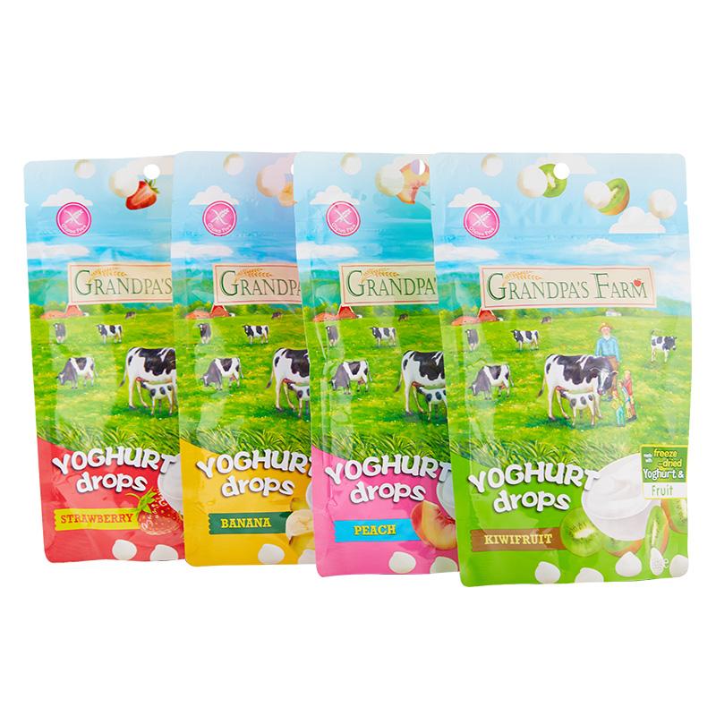 爷爷的农场进口酸奶益生菌溶豆婴幼儿零食水果奶豆4口味16g*4