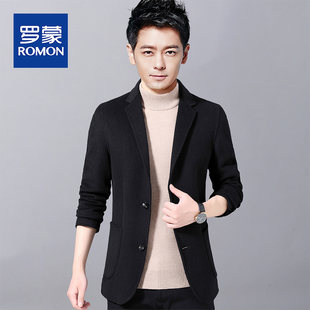 Romon double-sided wool suit jacket new middle-aged and young Korean version of trendy casual suit jacket men's jacket