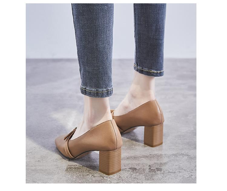 高跟鞋新款百搭方头浅口奶奶鞋女粗跟女单鞋中跟学生春季女鞋详细照片