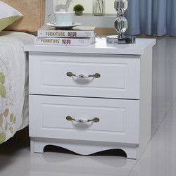 Jane European style white ivory white paint bedside table bedroom storage cabinet two drawers multifunctional storage cabinet