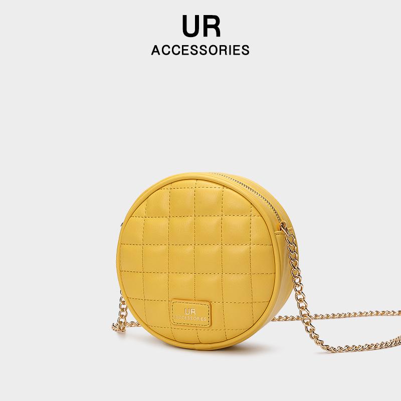 【UR】新款潮小清新文艺菱格链条小圆包