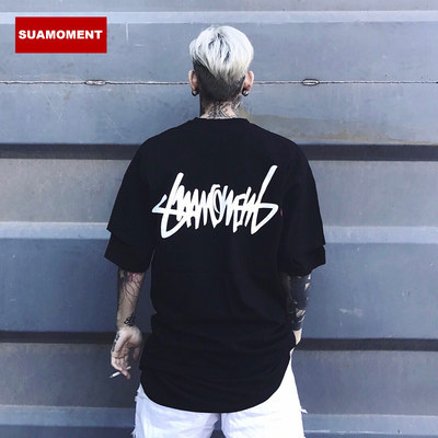 Suamoment Blood Claw Scratches Foundation Letter T-Shirt Male Tide Distance Couple Loose Short Sleeve TEE National Tide Sleeve