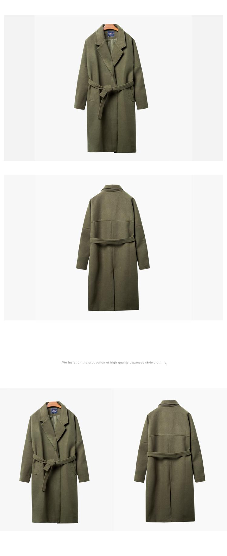 Nhật bản áo gió nam dài phần dày ấm áo ấm nam thủy triều của nam giới lỏng áo len len Hàn Quốc phiên bản