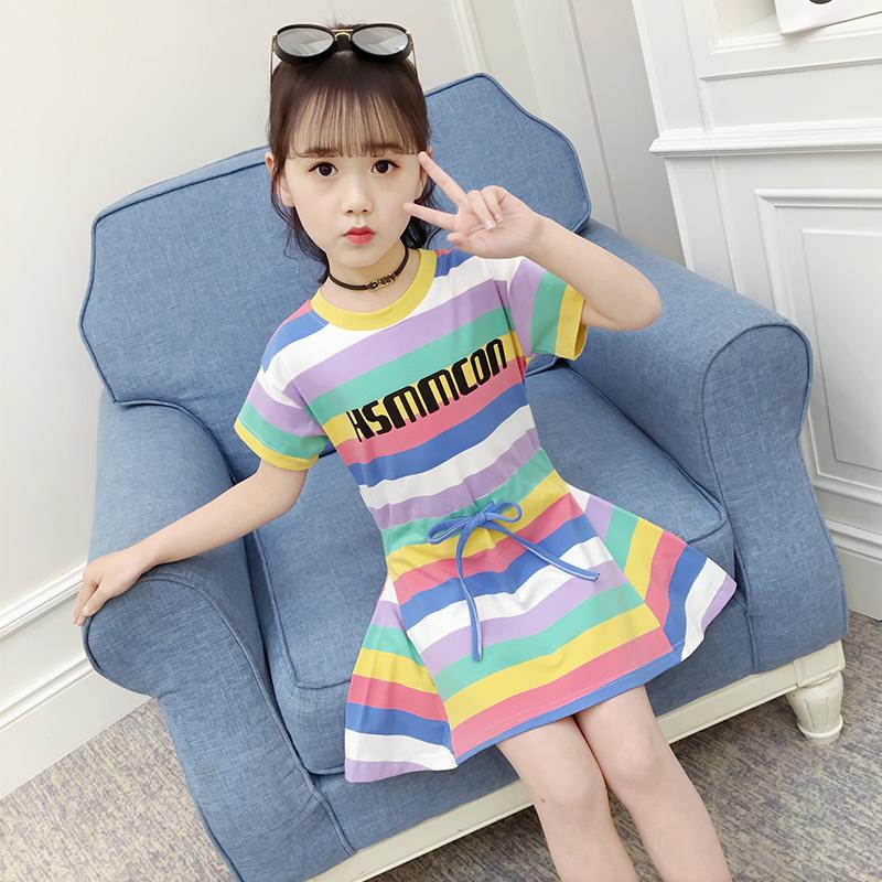 5夏装短裙中大6韩版连衣裙7彩条童字母8v夏装卫女孩10女童13岁衣裙