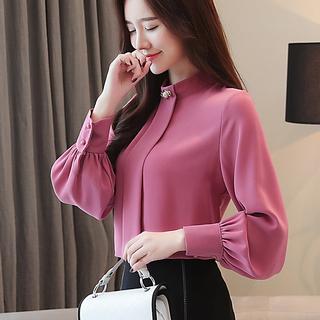 Блузки,  2020 метров ранняя осень наряд мода шифон куртка длинный рукав поддержка маленькая рубашка высококачественный дикий рубашка мисс западный стиль, цена 987 руб