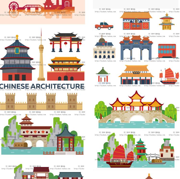 扁平化卡通中国风古代日本建筑矢量镇ui海报背景设计banner素材图插图(7)