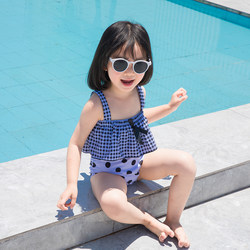 New children's swimsuit split cute sling baby children's holiday swimsuit Korea wave point girls swimwear
