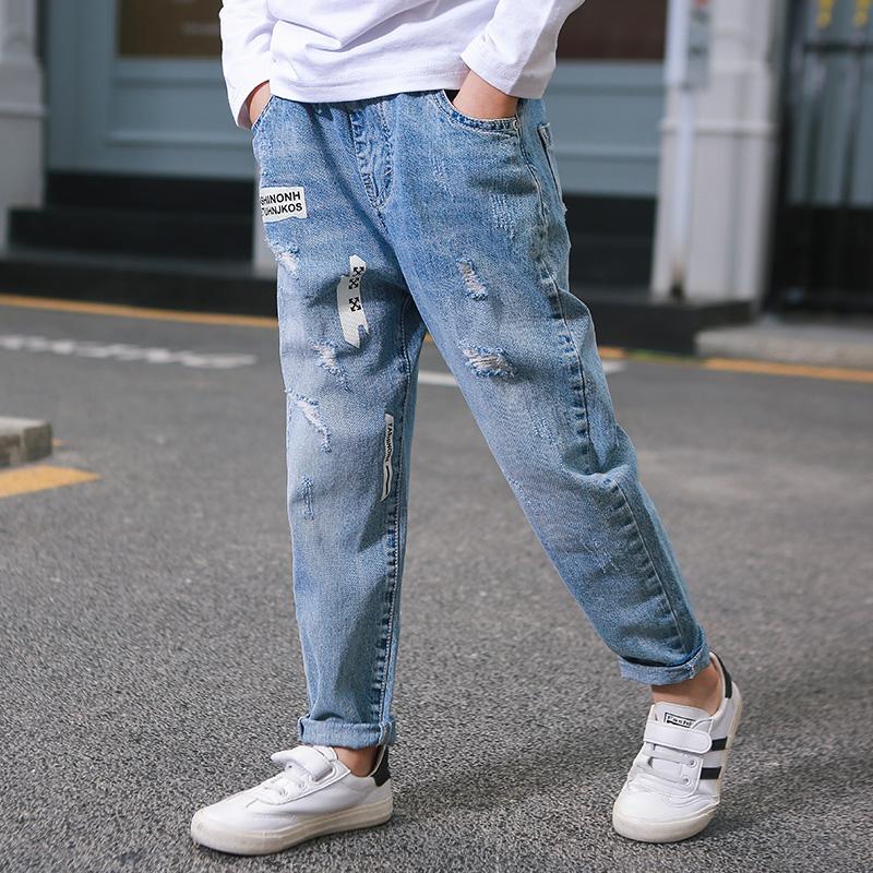 裤子牛仔裤春秋童装2019新款薄款男童v裤子韩版儿童洋气中大童长裤