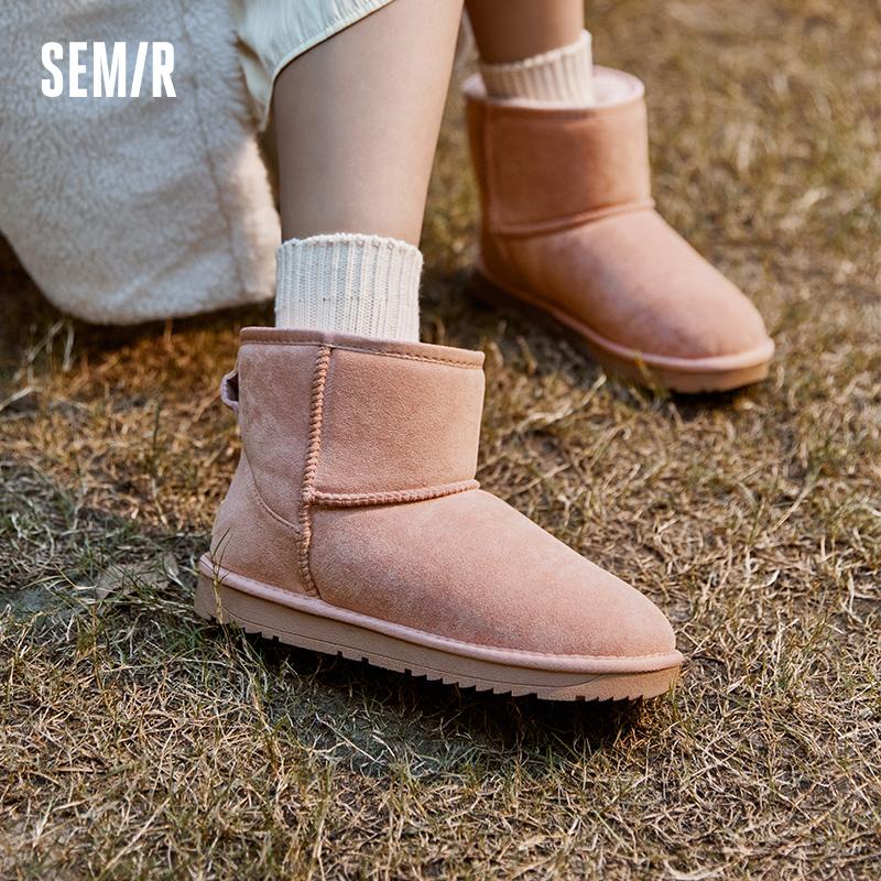 [双11预售]Semir雪地靴女2021年冬季加绒加厚可爱保暖棉鞋靴女鞋