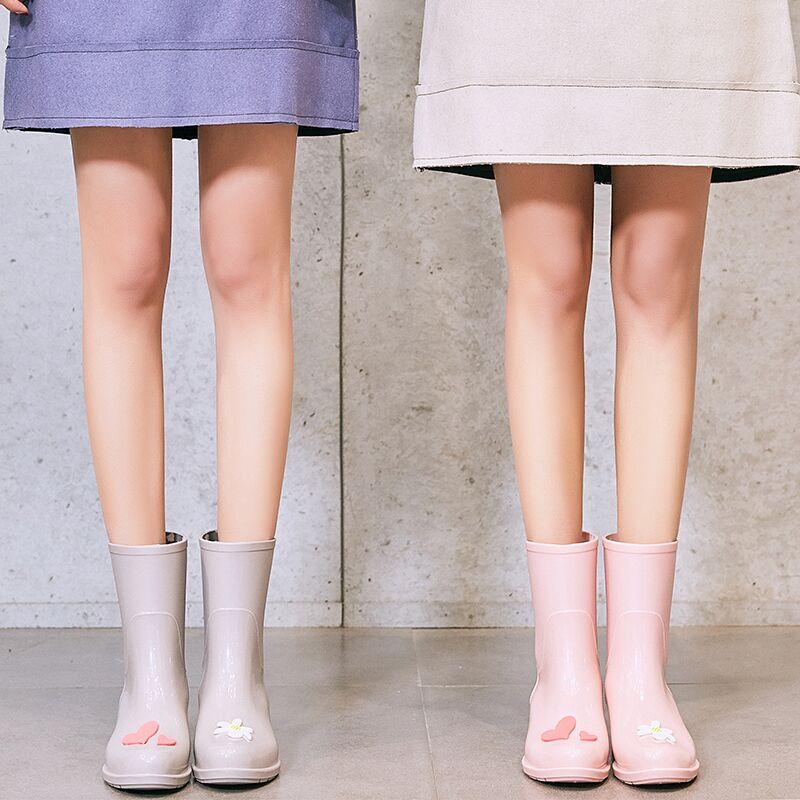 afe70341dca0b S Jelly rain boots women fashion models wear adult tube water shoes Korean  cute rain boots waterproof shoes non-slip rubber shoes
