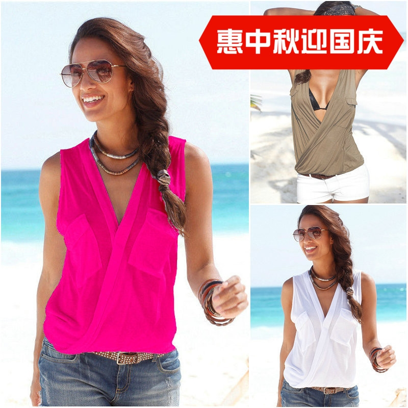 v领无袖T恤上衣V Neck T Shirts Sexy Women Tops Ladies T-shirt