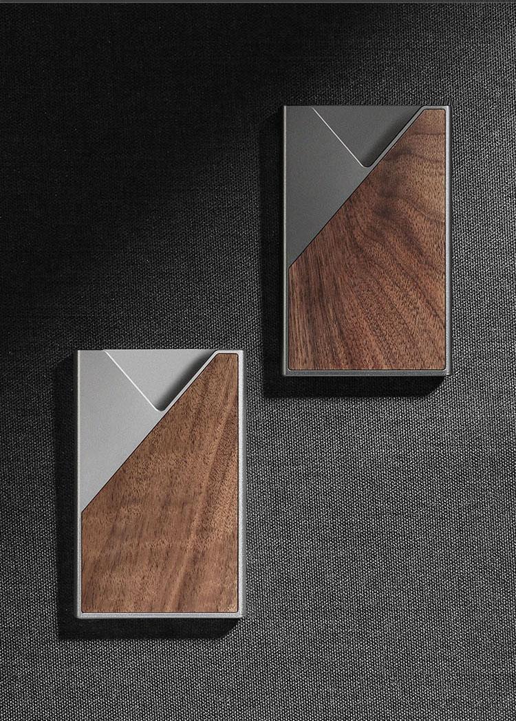 实木名片夹男士女士金属商务名片盒可携式礼品定製刻字详细照片