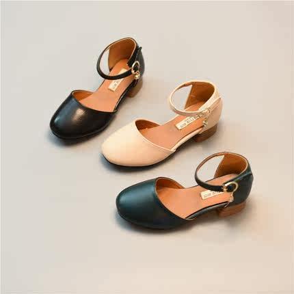 春季新款单公主鞋奶奶鞋夏季鞋凉鞋2017新款女童皮鞋高跟单鞋