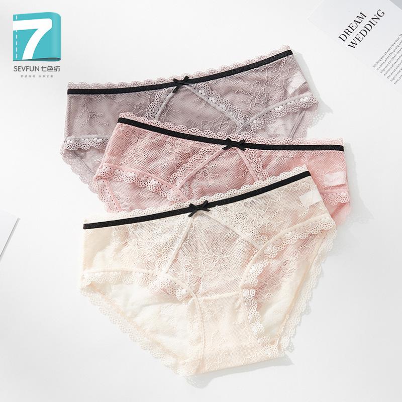 Quần lót ren đầy đủ Lady Sexy trong suốt rỗng thấp eo thấp tóm tắt Cotton tinh khiết - Giữa eo