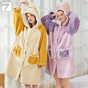 【七色纺】可爱秋冬季法兰绒睡袍