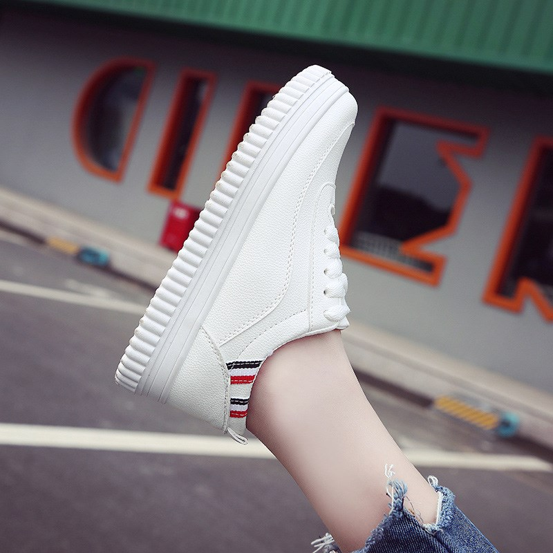 women sneakers pu white shoes fashion lace up female sneaker