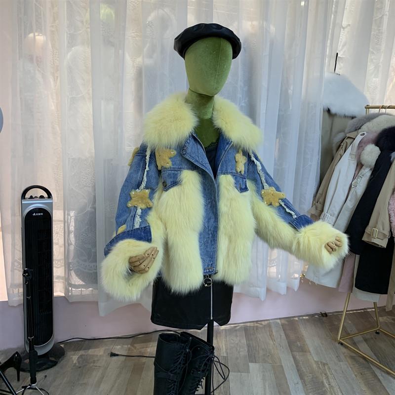 Thời trang châu Âu 2019 mùa đông mới áo khoác denim áo khoác lông nữ cáo lông denim khâu sao đảm bảo - Faux Fur