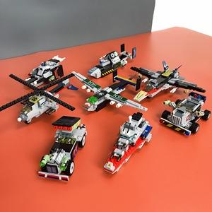 积木拼装战斗直升飞机高益智儿童玩具