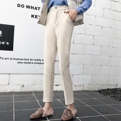 2018新款烟管休闲九分哈伦直筒西装裤