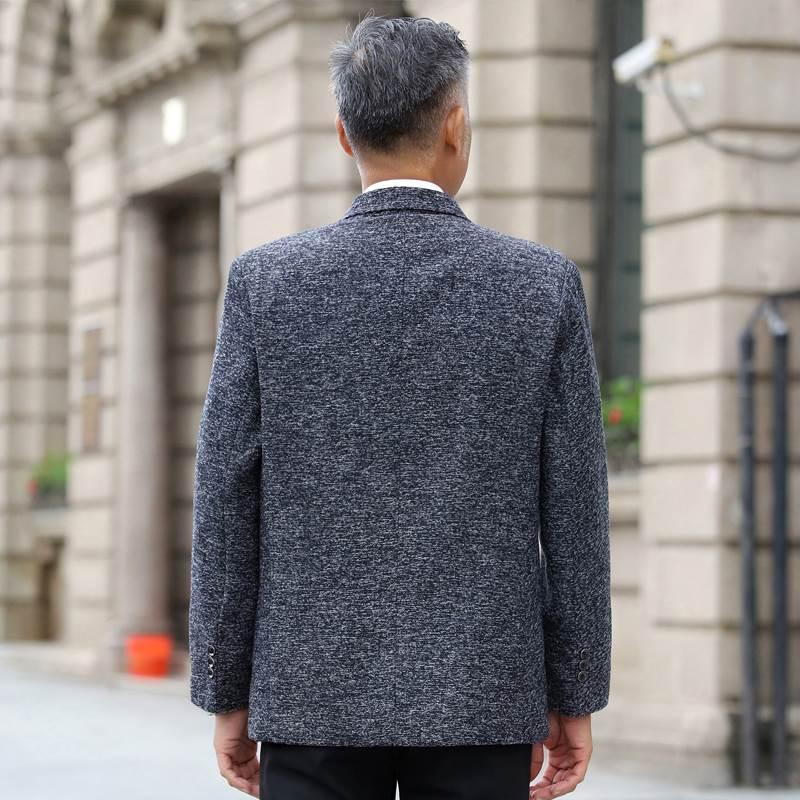 外套爸爸中老年西装西服春秋新款单件装加大码中年人v外套上衣男士