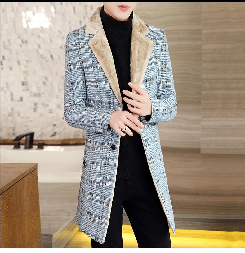 Autumn and winter hair coat men's long coat Korean version handsome men's fashion plus velvet thick windshield 60 Online shopping Bangladesh