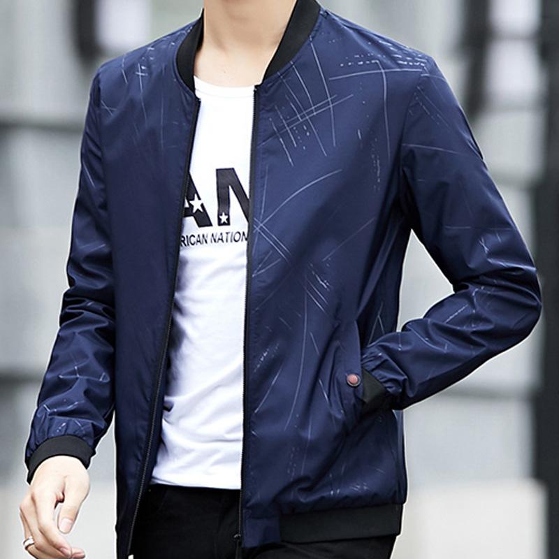2019男士夹克春季新款印花韩版修身外套棒球时尚潮流男装领上衣服