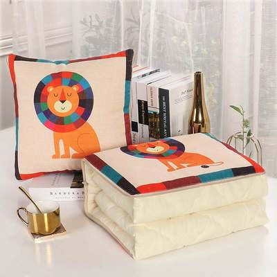 Student children's summer cool quilt cotton pillow thin quilt car inside pad folding sustained sustained kindergarten Northern European two-purpose office