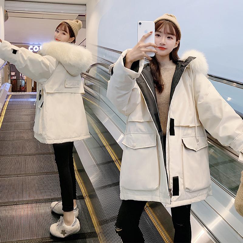 冬季中长学生工装宽松女式棉衣